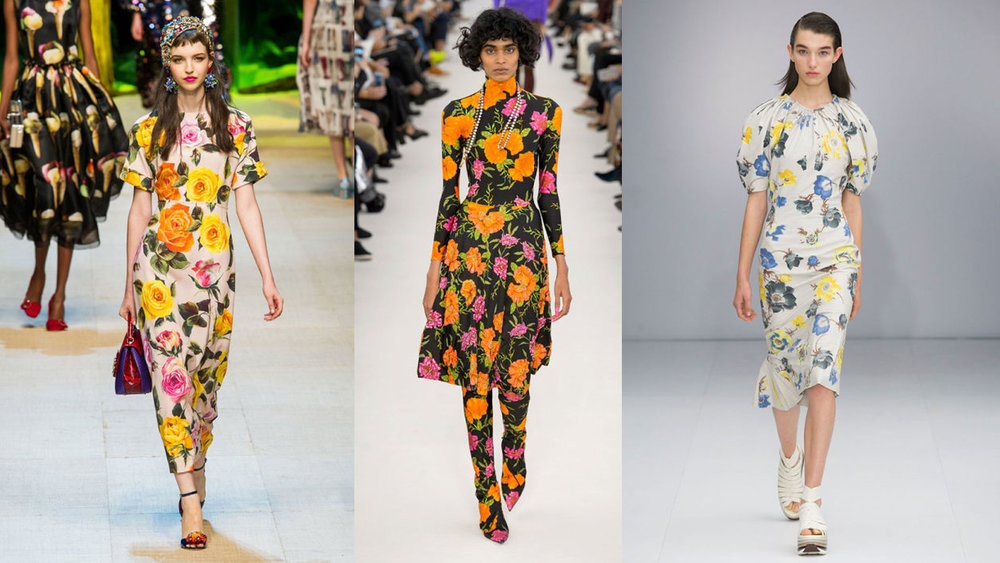 "Spring '17 looks from the runways of Dolce & Gabbana, Balenciaga and Salvatore Ferragamo. All photos via Harpers Bazaar ""The Flower Show."""