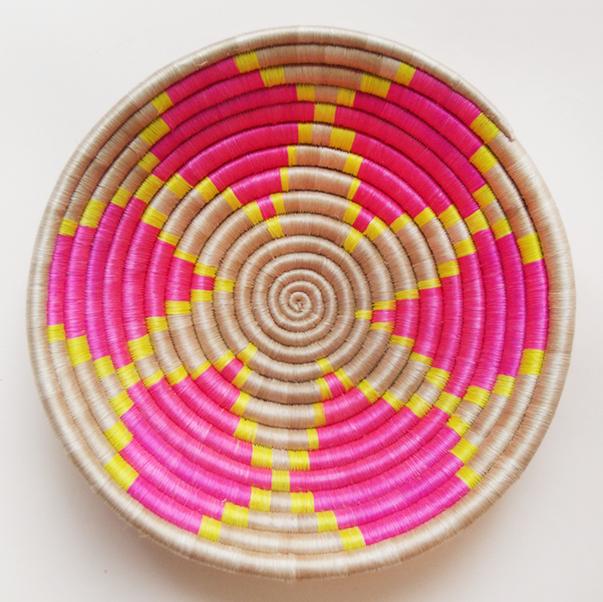 Pink Flower Plateau Basket Indego Africa