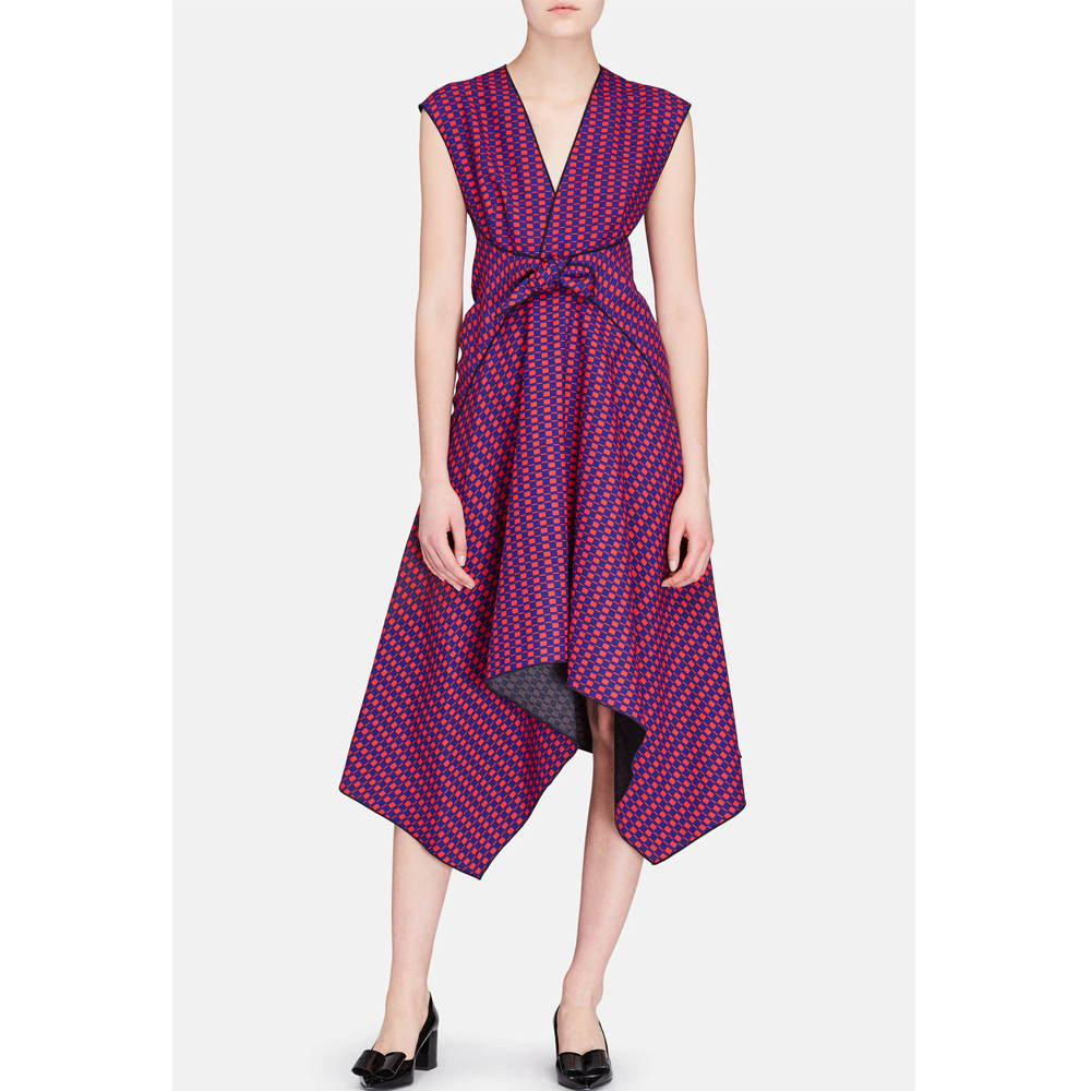 Proenza Schouler Cap Sleeve Dress with Knot - Indigo/Red Print