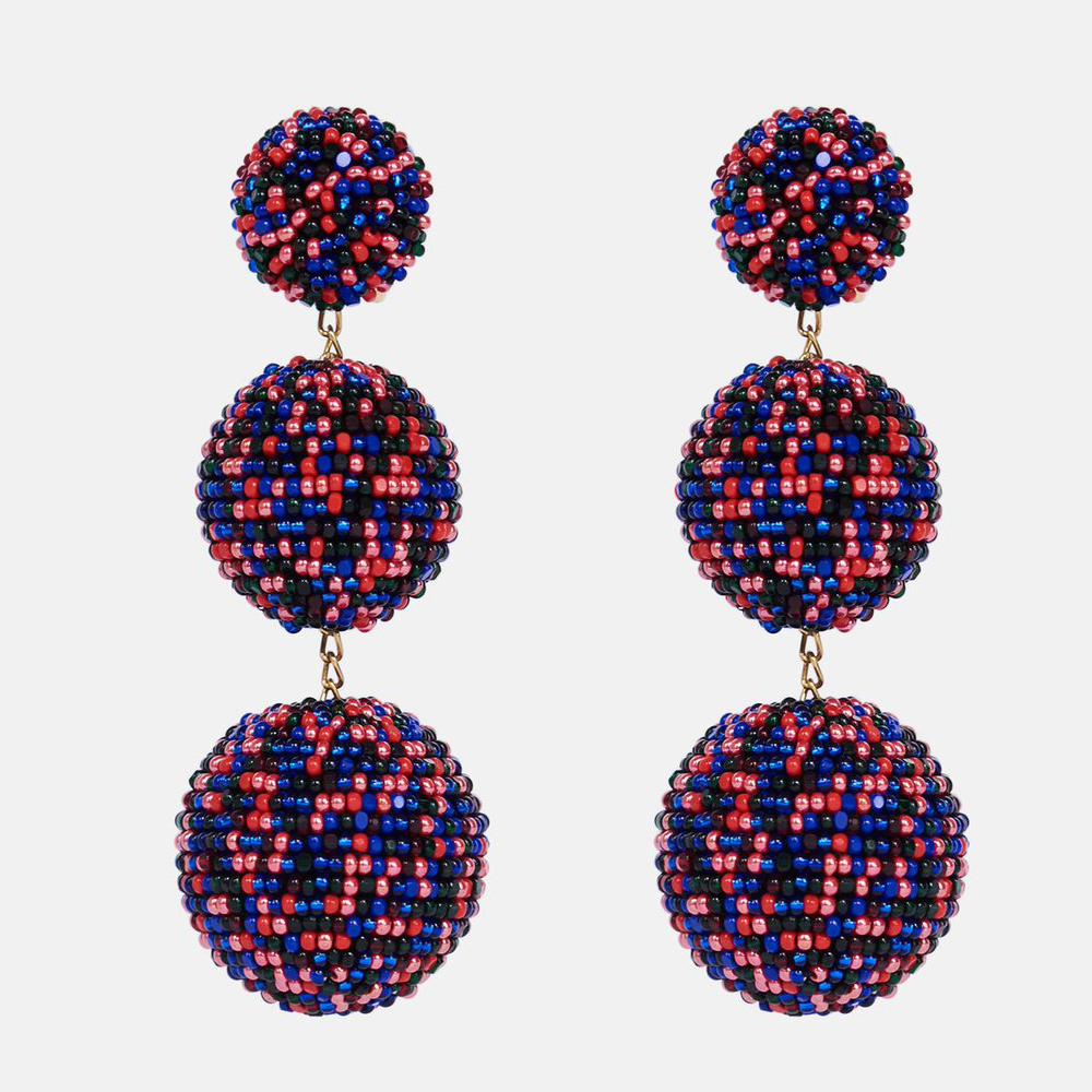 Les Bonbons Three-Ball Beaded Earrings - Paola
