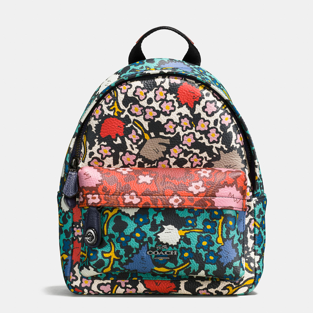 MINI campus backpack in multi floral print leather