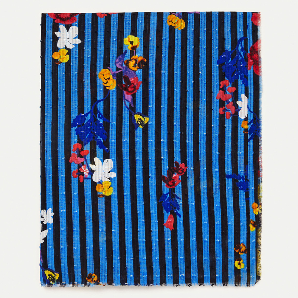 COTTON SCARF WITH FLOWERS AND STRIPES