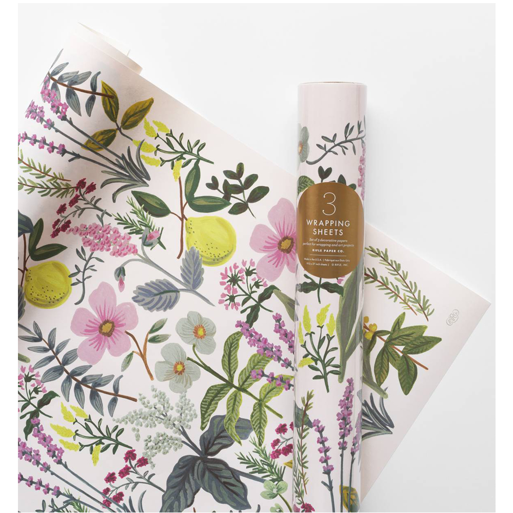 HERB GARDEN SET OF 3 DECORATIVE WRAPPING SHEETS