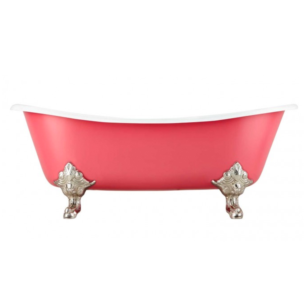 "72"" LENA CAST IRON CLAWFOOT TUB - MONARCH IMPERIAL FEET - CORAL"
