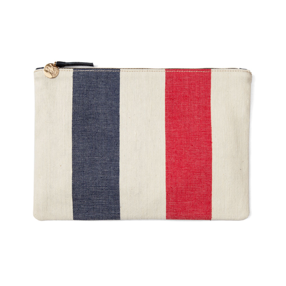 Flat Clutch with Navy and Poppy Awning Stripe