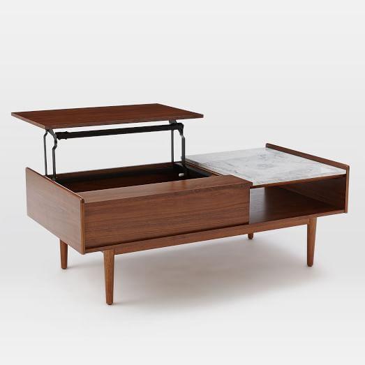 Mid Century Pop Up Coffee Table, Marble/Walnut