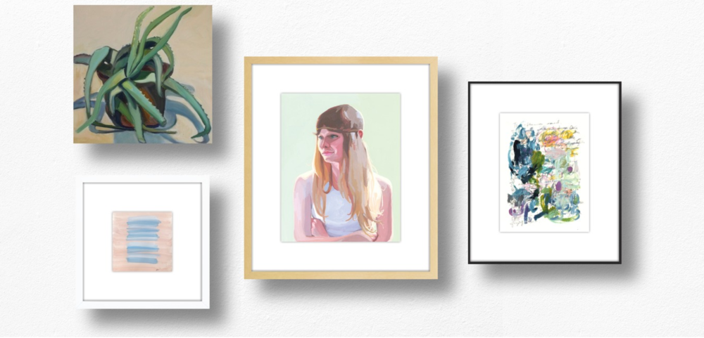 (From left to right)  Wild Cactus 2  by  Marie Freudenberger ,  Untitled  by  Ashley D Begley ,  Ruth  by  Elizabeth Mayville , and  The afternoon waned  by  Kelly Witmer .