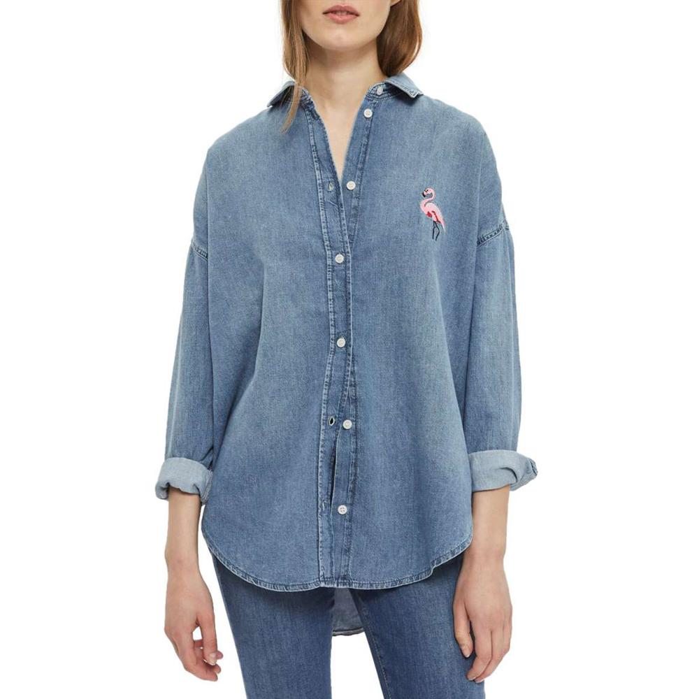 Flamingo Denim Shirt TOPSHOP