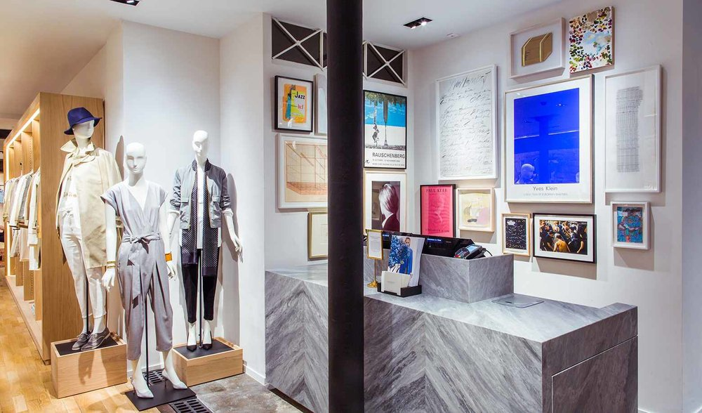 An iconic J. Crew gallery wall inside their Paris shop.