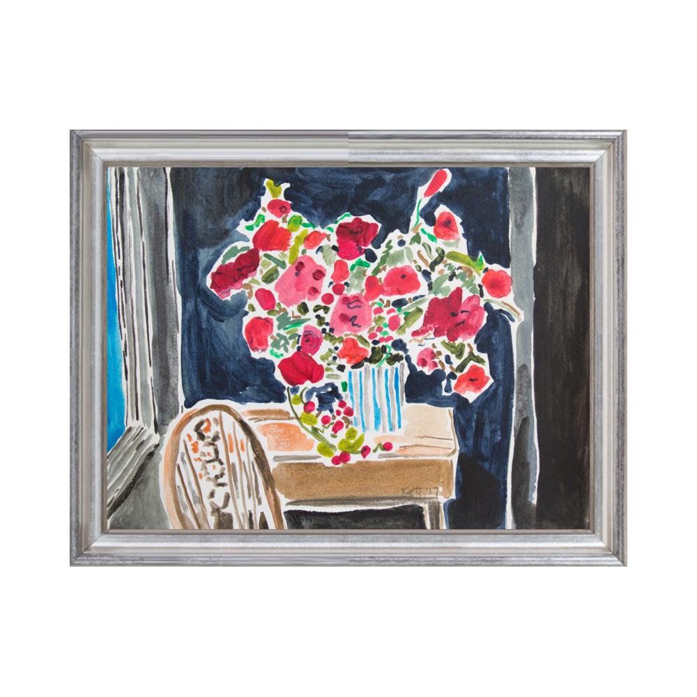 Red Flowers in Dark Room by Kate Lewis
