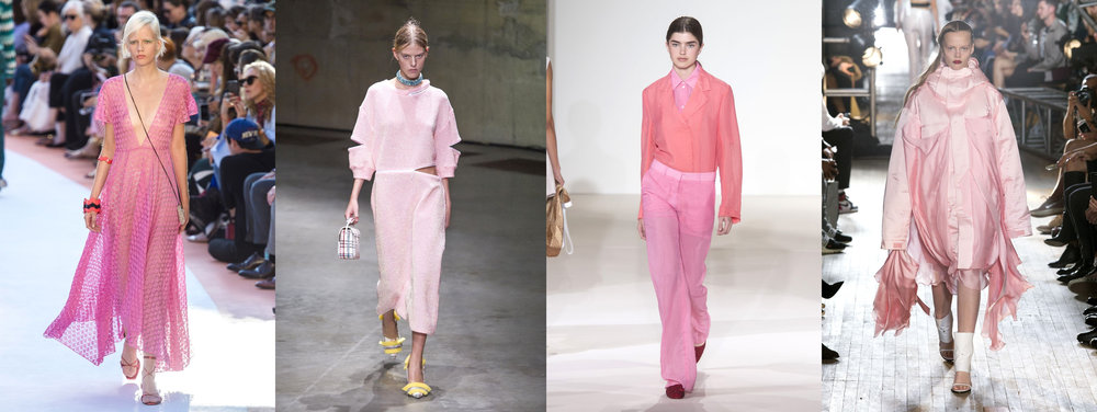 Spring '18 runway looks from  Missoni ,  Christopher Kane ,  Victoria Beckham , and  Helmut Lang .