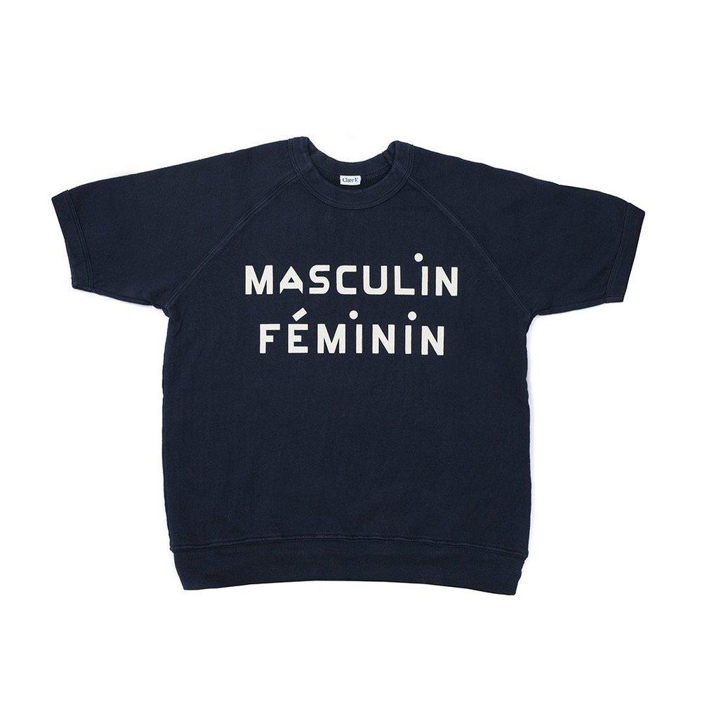 Short Sleeve Sweatshirt Navy w/ Cream Masculin Feminin Print - CV Exclusive