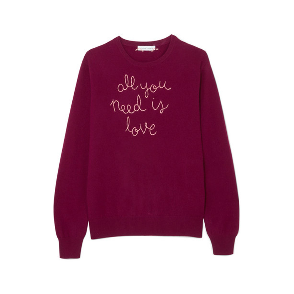 LINGUA FRANCA All You Need Is Love embroidered cashmere sweater