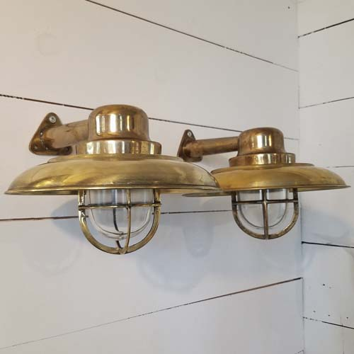 Vintage bronze capped nautical sconces