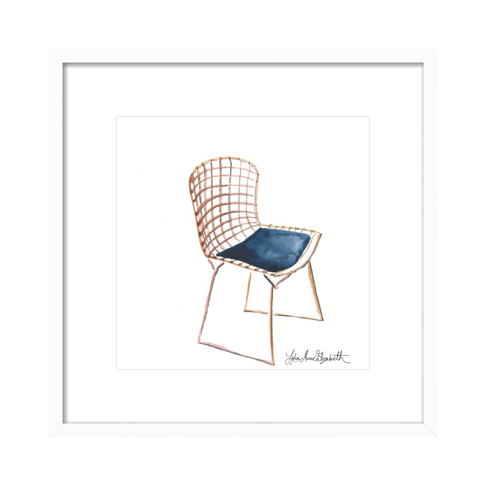 Portrait of the Bertoia Side Chair in Rose Gold  BY LYDIA MARIE ELIZABETH