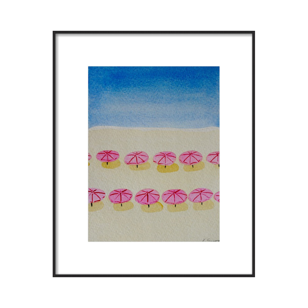 Flamingo Umbrellas (Beach Umbrella Series)  BY JEN SCULLY