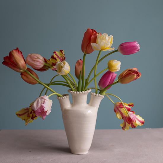 Three Spout White Earthenware Tulipiere