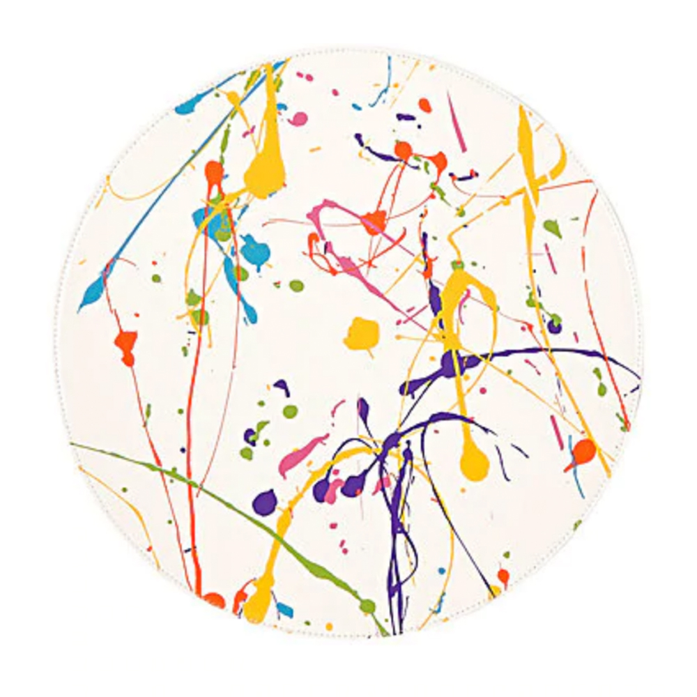 LISA PERRY Reversible Paint-Splatter-Print Circular Placemat