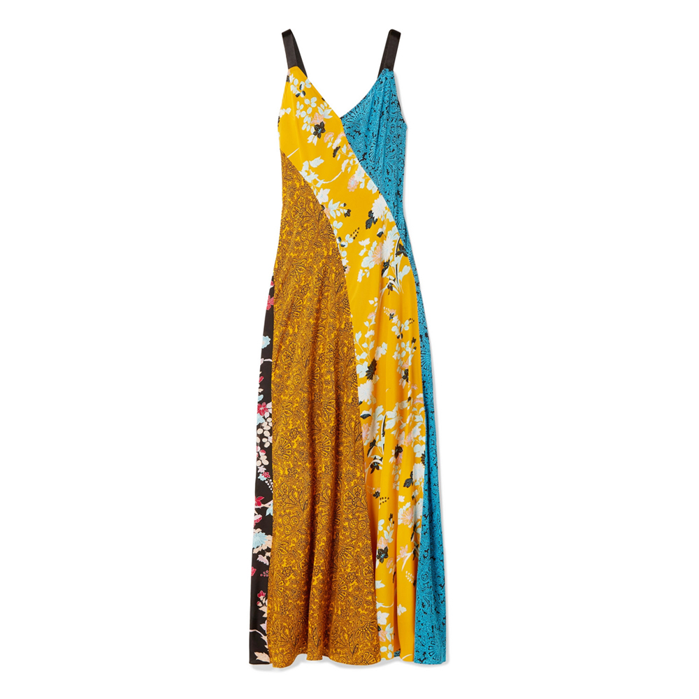 DIANE VON FURSTENBERG Paneled printed silk crepe de chine maxi dress