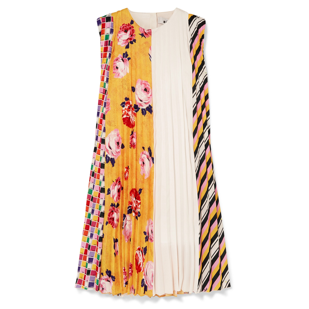 MSGM Pleated printed crepe mini dress