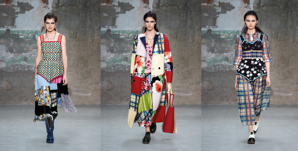 Patchwork ruled the runway at the  Marni Spring/Summer 2018 show