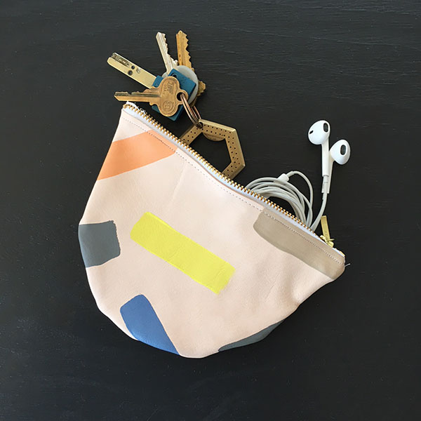 pastel brush strokes leather coin pouch
