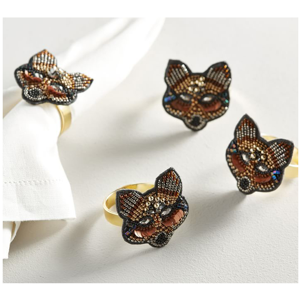 JEWELED FOX NAPKIN RING, SET OF 4