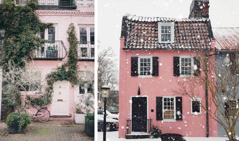 (Left) A trip through London, with  Gal Meets Glam , (Right) snowy Charleston via  @sarahmccay