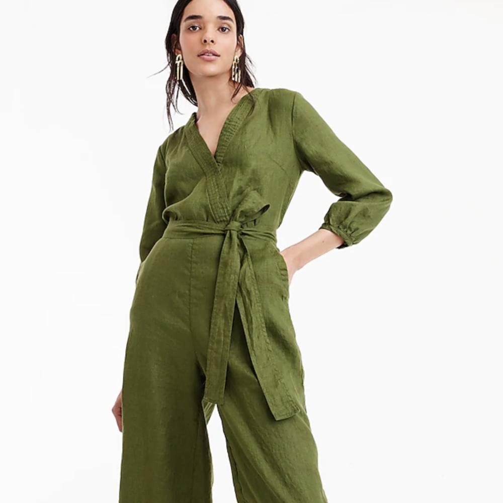 Petite Point Sur linen wrap jumpsuit