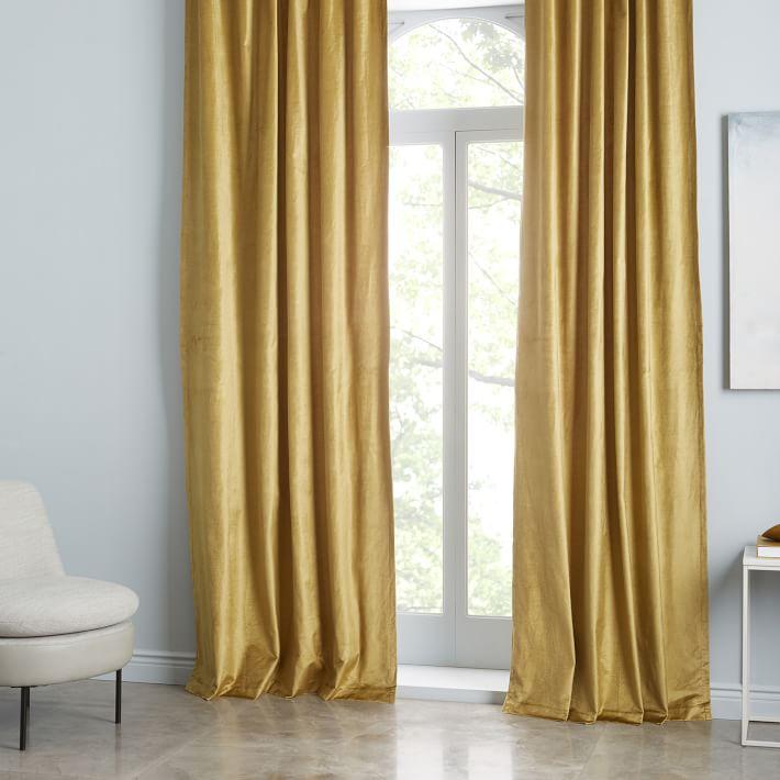 Cotton Luster Velvet Curtain - Wasabi