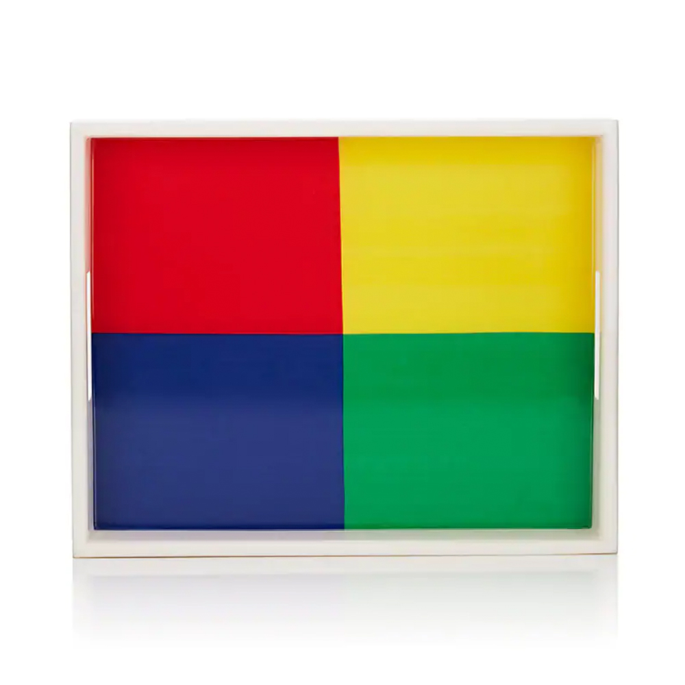 LISA PERRY Colorblocked Lacquered Rectangular Tray XO