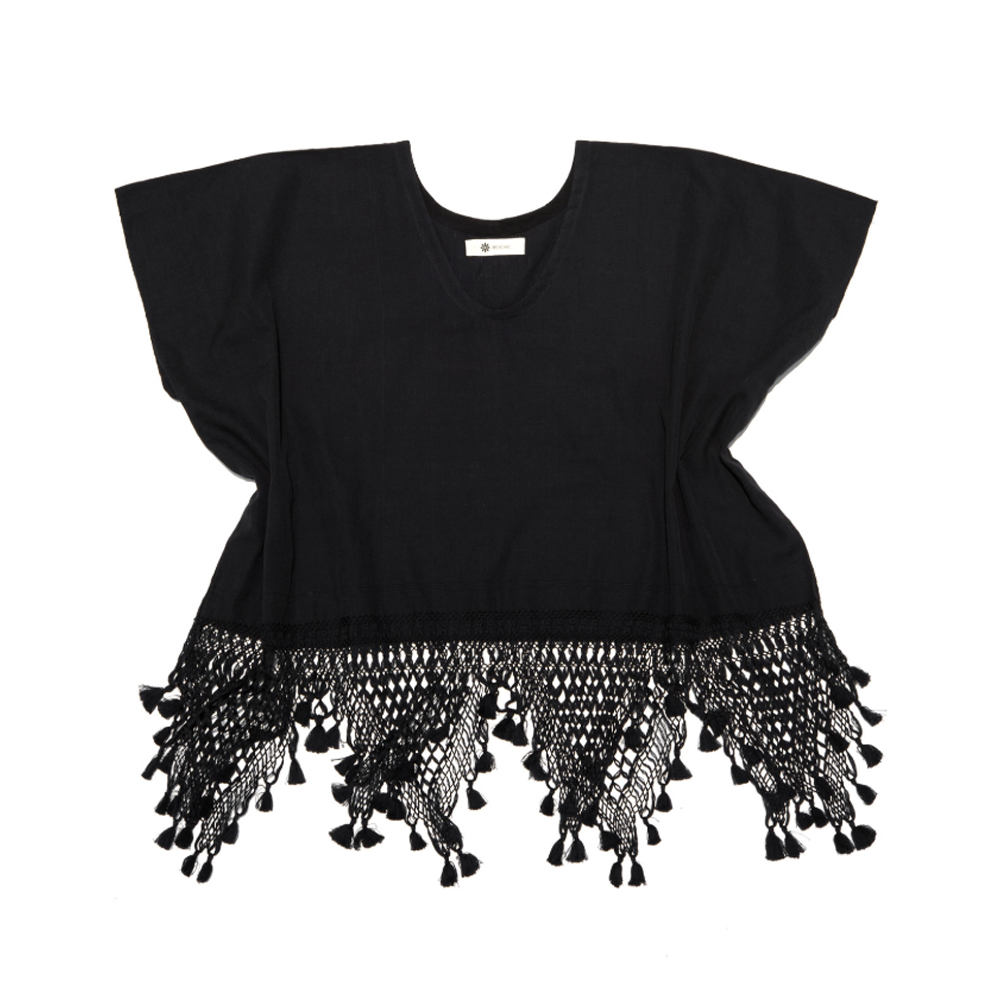 Cotton Crop Top with Triangle Fringe and Pom Poms