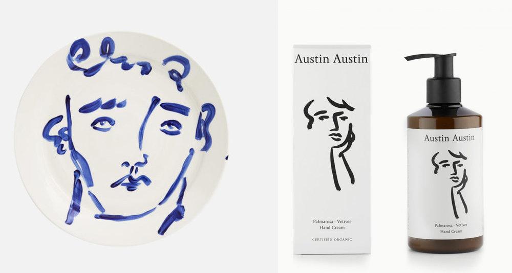 Luke Edward Hall x Alex Eagle Dinner Plate  and  Palmarosa & Vetiver Hand Cream  by Austin Austin.