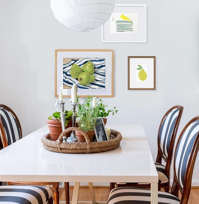 We're featuring, our current obsession - fruit and stripes. The pairing is classic, fresh, and appears effortlessly chic in an art grouping.  Art Featured: Lemons Stripes by Leslie Westphal, Lemon by Erin Flett, Three Pears by Carrie Arnold