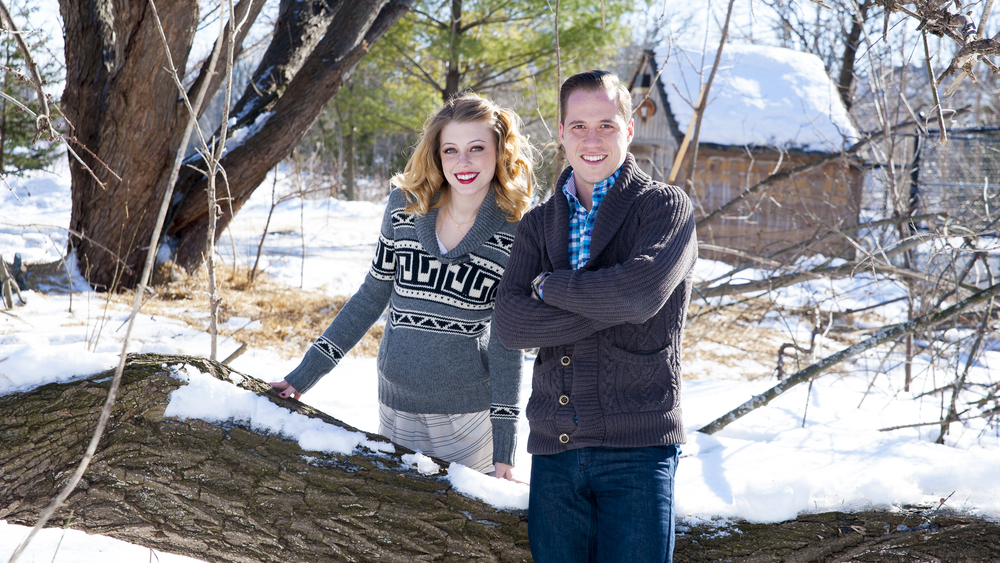 Millpond winter engagement photo