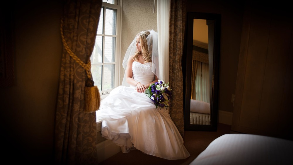 Bride pondering her wedding