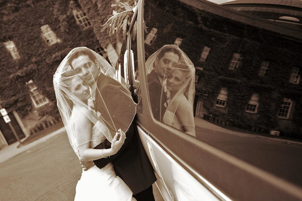 Bride and groom University of Toronto reflection