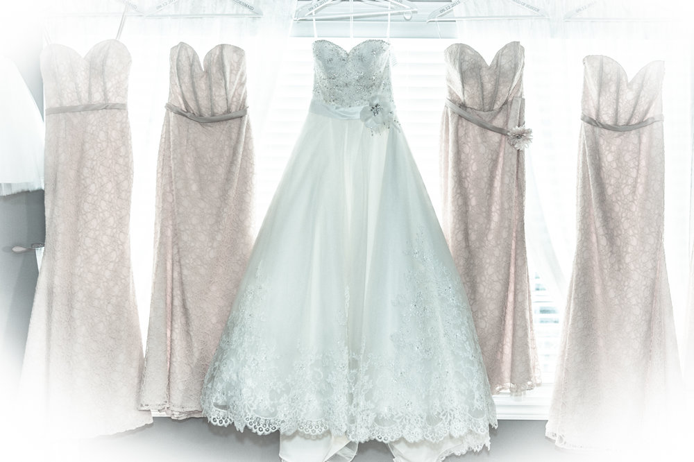 Bride dress and bridesmaid dressing