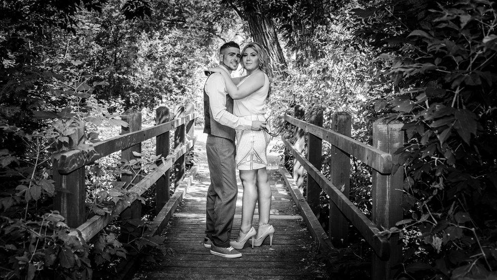 Mill pond black & white engagement portrait