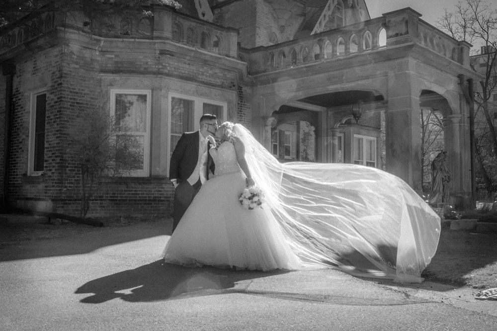 Bride and Groom outside Heritage House