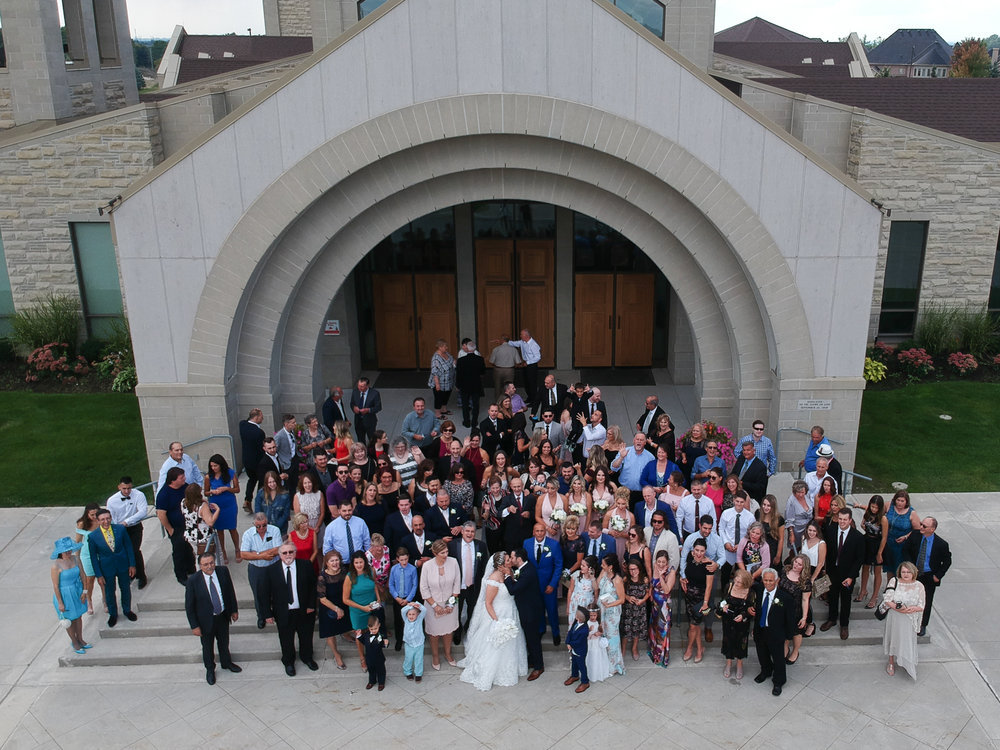 Padre Pio Church Vaughan, Ontario Drone Wedding Photography
