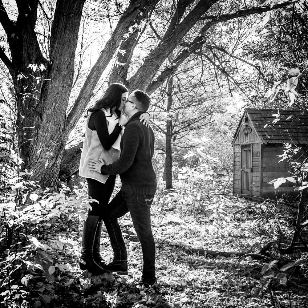 Mill pond Engagement Photo cabin