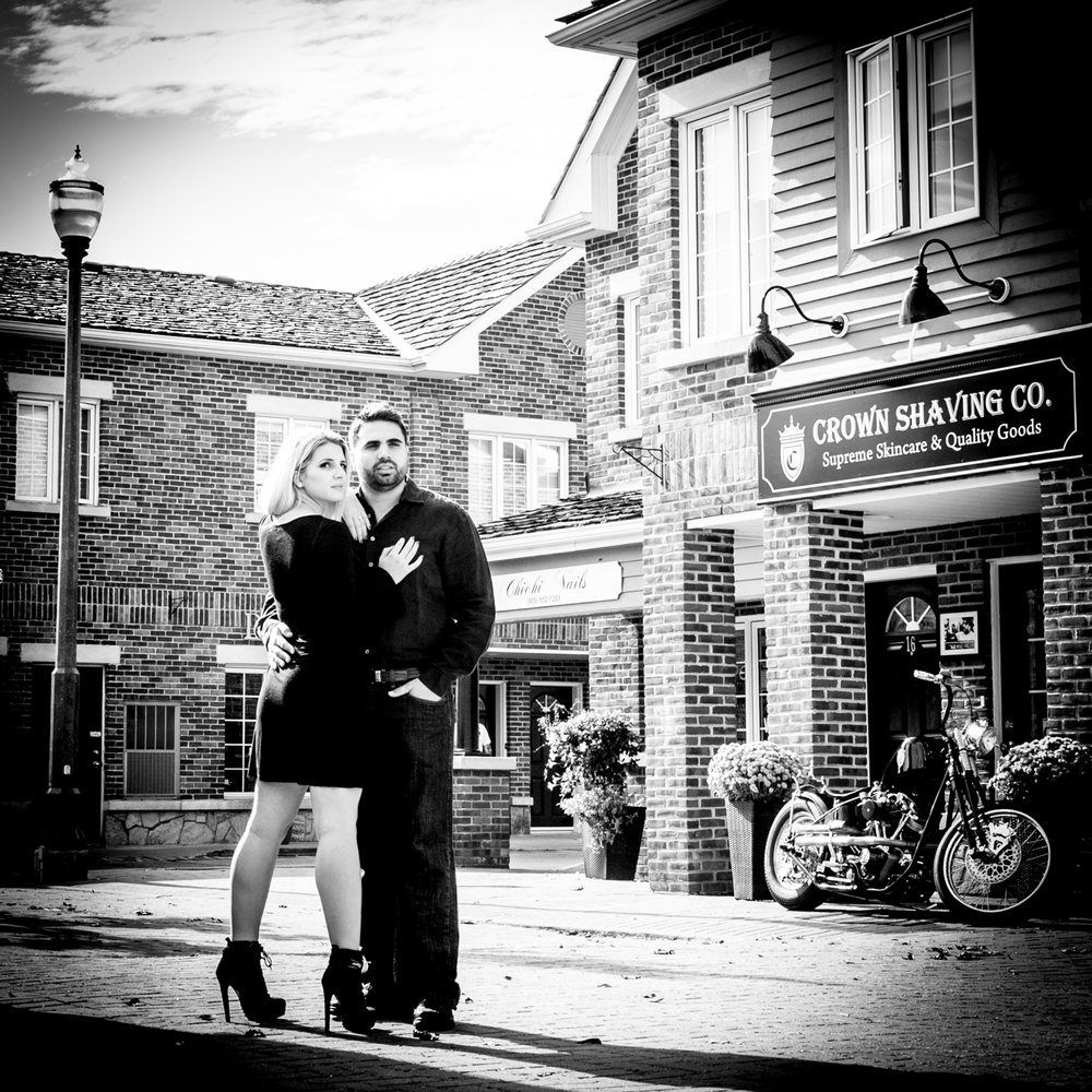 Black & White Kleinburg Engagement Photos