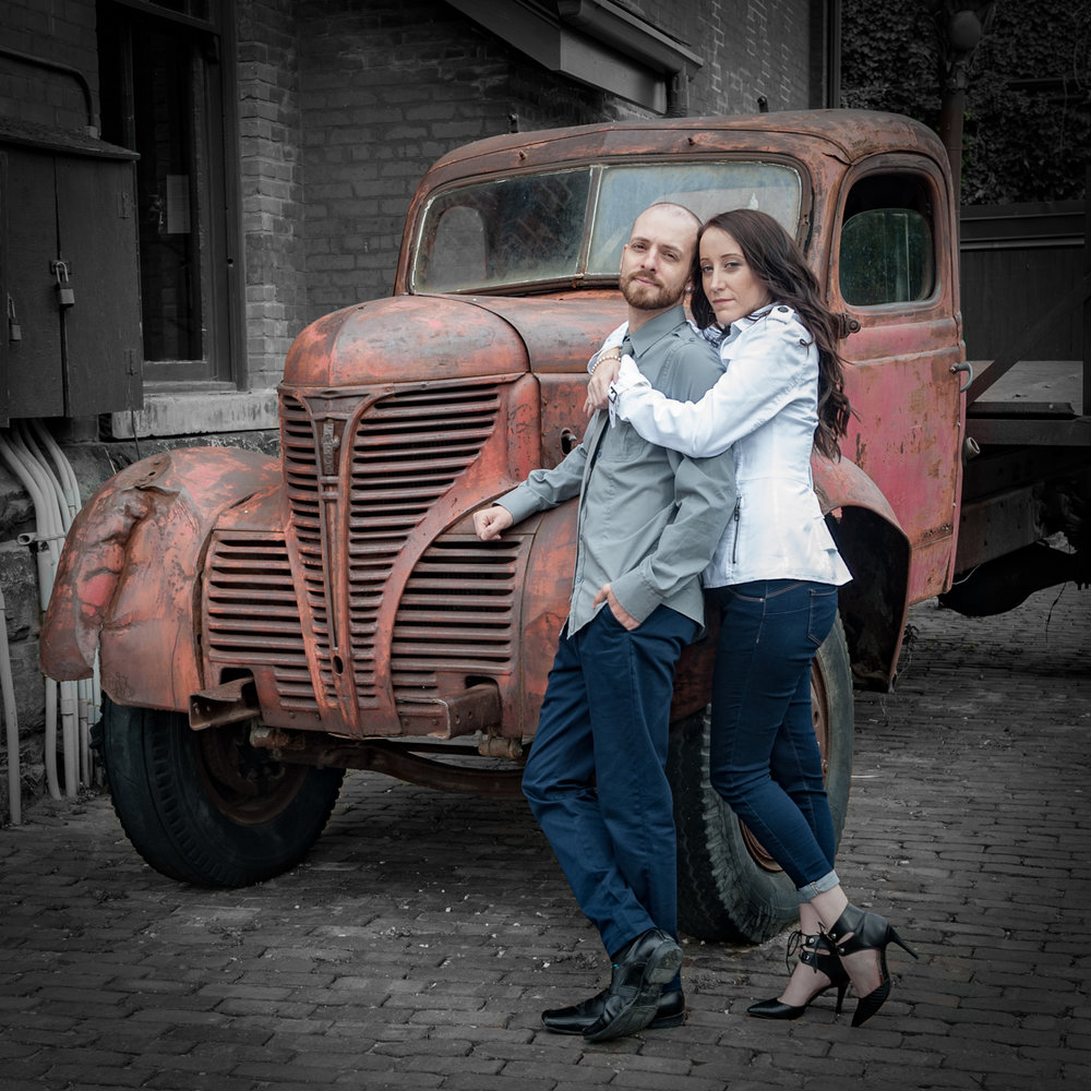 Old truck at distillery district engagement photo