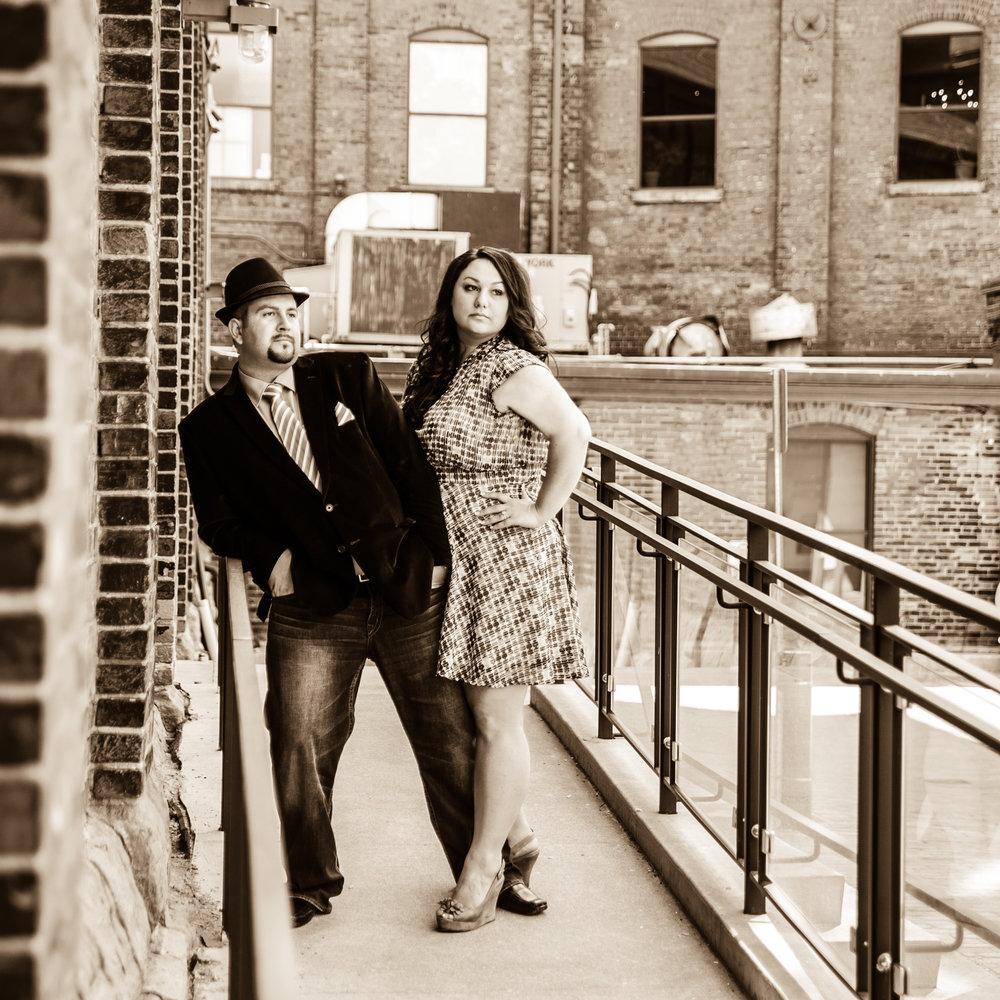 Distillery District Engagement photos in parking lot