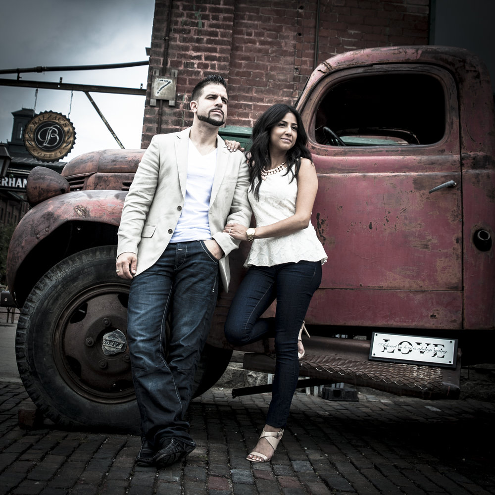 Distillery District Engagement Photo with old truck