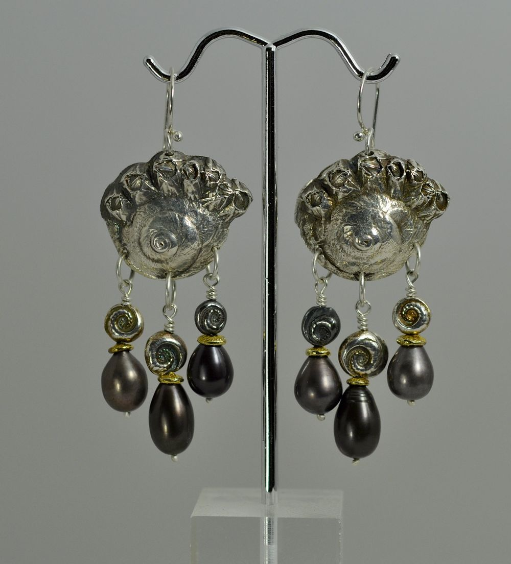 Moonsnail Goddess Earrings, in silver with 22k gold accents and dark pearls.