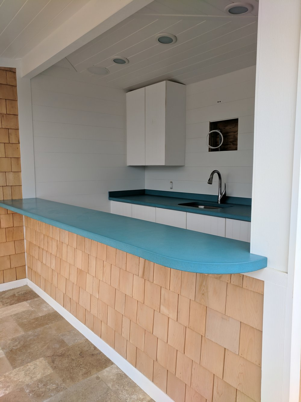 Teal Blue Concrete Bar Top for this Oceanfront Cabana - Design by Urban Cottage