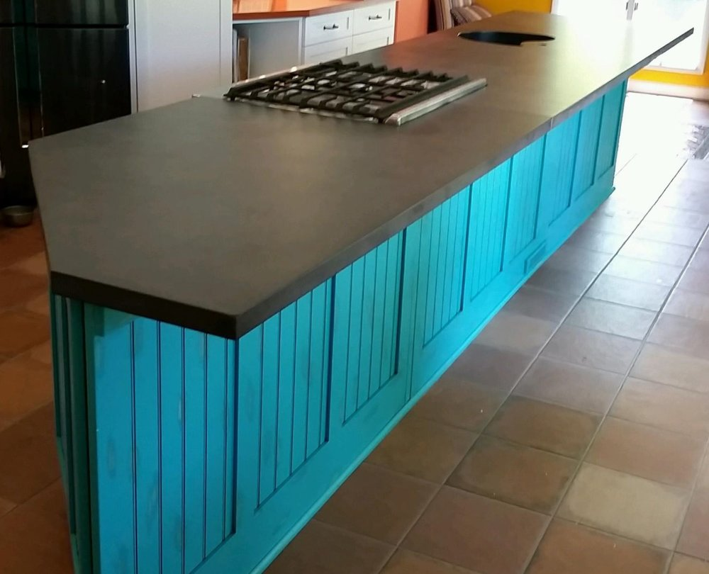 Concrete Countertop with Teardrop Integral Sink - Design by Opus Artisan Concrete