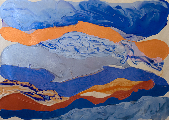 "DIVER, 2007, Acrylic on canvas, 52"" x 72"""